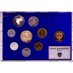 9 monedas x AUSTRIA ESTUCHE PROOF 1988 Ceca de VIENA 2+5+10+50 GROSCHEN y 1+5+10 SCHILLINGS + MEDALLA