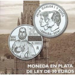 ESPAÑA 30 EUROS 2014 IV CENTENARIO DE LA MUERTE DE EL GRECO MONEDA DE PLATA SC EN BOLSA ORIGINAL DEL BANCO