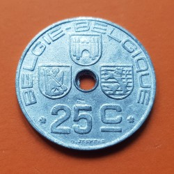 BELGICA 25 CENTIMOS 1943 ESCUDOS BELGIE KM.132 MONEDA DE ZINC OCUPACION NAZI III REICH WWII Belgium centimes