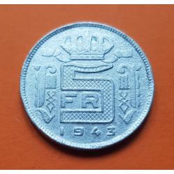 BELGICA 5 FRANCOS 1943 REY LEOPOLDO III DES BELGES KM.129.1 MONEDA DE ZINC OCUPACION NAZI III REICH WWII Belgium