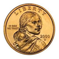 ESTADOS UNIDOS 1 DOLAR 2000 D INDIA SACAGAWEA MONEDA DE LATON SC USA $1 Dollar coin