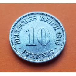 ALEMANIA 10 PFENNIG 1914 F AGUILA DEL IMPERIO DEUTSCHES REICH KM.12 MONEDA DE NICKEL MBC Germany 1ª Guerra Mundial