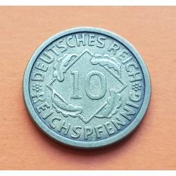 ALEMANIA 10 PFENNIG 1924 J REPUBLICA DEL WEIMAR KM.40 MONEDA DE LATON MBC Germany Deutsches Reich 10 RPF