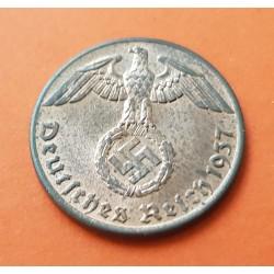 ALEMANIA 1 REICHSPFENNIG 1937 A AGUILA SOBRE ESVASTICA NAZI KM.89 MONEDA DE BRONCE @LUJO@ Germany 1