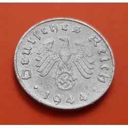 ALEMANIA 10 REICHSPFENNIG 1944 D AGUILA NAZI y ESVASTICA KM.101 MONEDA DE ZINC @ESCASA@ Germany III REICH