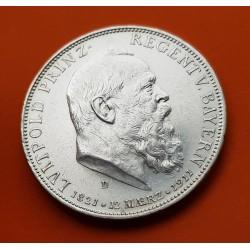 ALEMANIA 5 MARCOS 1911 D BAVIERA 90 CUMPLEAÑOS DE LUITPOLD KM.999 MONEDA DE PLATA EBC Germany Bayern Fünf Mark