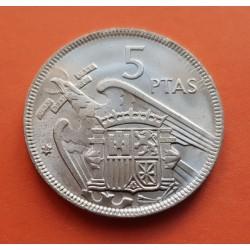 ESPAÑA 5 PESETAS 1957 * 64 FRANCO ESTADO ESPAÑOL KM.786 MONEDA DE NICKEL SC SI PLUS ULTRA 1