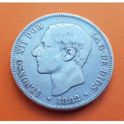 ESPAÑA 5 PESETAS 1882 * -- -- MSM REY ALFONSO XII KM.688 MONEDA DE PLATA (DURO) Spain silver 1