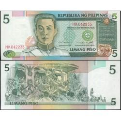 FILIPINAS 5 PISO 1995 EMILIO AGUINALDO BANCO NACIONAL Pick 180A BILLETE SC Philippines UNC BANKNOTE