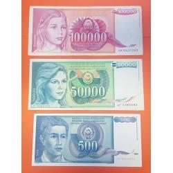3 billetes x YUGOSLAVIA 500 + 50000 + 100000 DINARA 1988/1989/1990 NIÑOS Pick 96+97+106 MBC PVP NUEVOS 16€