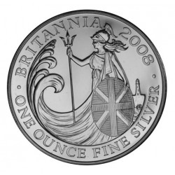 INGLATERRA 2 LIBRAS 2008 BRITANNIA MONEDA DE PLATA SC UNITED KINGDOM SILVER £2 POUNDS 1 ONZA OZ OUNCE
