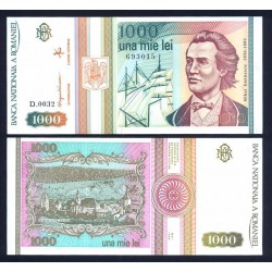 RUMANIA 1000 LEI 1992 BARCO VELERO MIHAI EMINESCU Pick 102 Romania UNC BANKNOTE
