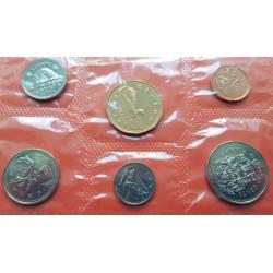 6 monedas x CANADA 1+5+10+25+50 CENTAVOS 1994 + 1 DOLAR 1994 GANSO LOONEY NICKEL COBRE LATON SC SOBRE OFICIAL