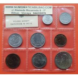 8 monedas x POLONIA 10+20+50 GROSZY y 1+2+5+10+20 ZLOTY 1977 POLSKIE MONETY SC Polish coin Set