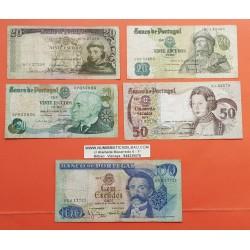 5 billetes x PORTUGAL 20 ESCUDOS 1964 + 1971 +1978 y 50 ESCUDOS 1968 y 100 ESCUDOS 1965 MUY CIRCULADOS PVP NUEVOS 50€