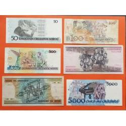 6 billetes x BRASIL 50+100+500 CRUZADOS NOVOS + 500+1000+5000 CRUZEIROS 1989 1993 MUY CIRCULADOS PVP NUEVOS 20€