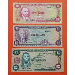 3 billetes x JAMAICA 50 CENTAVOS 1960 Pick 53 + 1 DOLAR 1960 Pick 59 + 2 DOLARES 1960 Pick 60CIRCULADOS PVP NUEVOS 70€