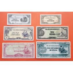 6 billetes x JAPON 2ª GUERRA MUNDIAL 10+50 CENTAVOS + 5 RUPIAS + 10 PESOS + 10+100 RUPIAS 1942/1945 Ocupación BURMA y FILIPINAS