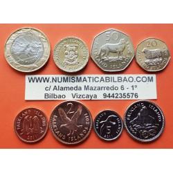 6 monedas x FALKLAND 1+2+5+10+20+50 PENIQUES y 1+2 LIBRAS 2004 o 2011 ANIMALES SC ISLAS MALVINAS
