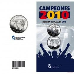 ESPAÑA CARTERA FNMT 20 EUROS 2010 CAMPEONES DEL MUNDO MONEDA DE PLATA SC Spain Mint Set