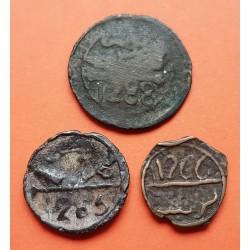 3 monedas x MARRUECOS 1 FALUS 1849 + 2 FALUS 1850 + 4 FALUS 1871 ESTRELLA DE 6 PUNTAS BRONCE MBC-
