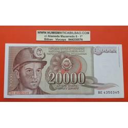 YUGOSLAVIA 20000 DINARA 1987 MINERO CON CASCO Pick 95 BILLETE SC @ESQUINA@ 20000 Dinar UNC BANKNOTE