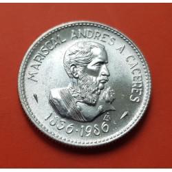 PERU 100 INTIS 1986 MARISCAL ANDRES CACERES KM.298 MONEDA DE PLATA SC