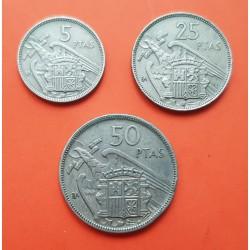 3 monedas x ESPAÑA 5 + 25 + 50 PESETAS 1957 * BA BARCELONA EXPOSICION NUMISMATICA NICKEL MBC @RARAS@ Estado Español