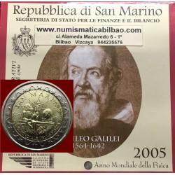 @MUY RARA@ SAN MARINO 2 EUROS 2005 GALILEO GALILEI SC MONEDA CONMEMORATIVA EN ESTUCHE