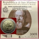 SAN MARINO 2 EUROS 2005 GALILEO GALILEI RARA SC UNC