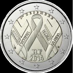 2€ EUROS 2014 FRANCIA DIA MUNDIAL LUCHA CONTRA EL SIDA SC
