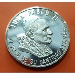 2 ONZAS 1993 IV VIAJE DEL PAPA JUAN PABLO II MEDALLA DE PLATA PURA MONEDA SC TROY OZ OUNCE España 62,20 gramos
