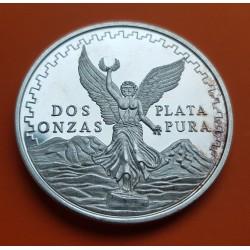 2 ONZAS 1992 MEXICO LIBERTAD ANGEL ALADO 10º ANIVERSARIO y AGUILA MEDALLA DE PLATA PURA 999 MONEDA SC TROY OZ OUNCE 62,20 gramos