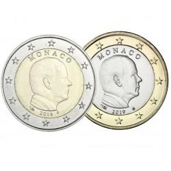 MONACO 1 EURO 2019 + MONACO 2 EUROS 2019 REY ALBERTO II SC 2 MONEDAS NO CONMEMORATIVA @ESCASAS@