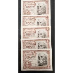 5 billetes CORRELATIVOS x ESPAÑA 1 PESETA 1953 MARQUES DE SANTA CRUZ Serie R Pick 144 SC SIN CIRCULAR Spain GRAPA