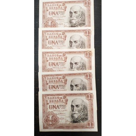 5 billetes x ESPAÑA 1 PESETA 1953 MARQUES DE SANTA CRUZ Serie R @CORRELATIVOS@ Pick 144 SC SIN CIRCULAR Spain GRAPA