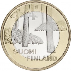 FINLANDIA 5 EUROS 2013 Provincia de SATAKUNTA - BOSQUE moneda nº 19 SC MONEDA BIMETALICA Finnland