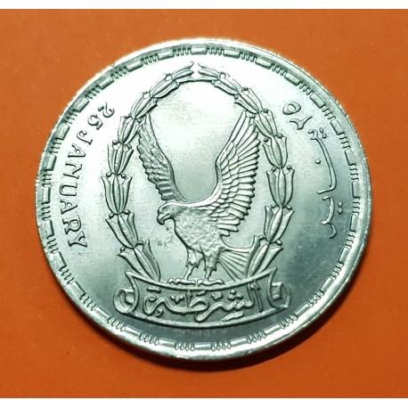 EGIPTO 20 PIASTRAS 1988 AGUILA POLICE DAY. KM.646 MONEDA DE NICKEL SC @RARA@ Egypt 20 piastres