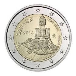 ESPAÑA 2€ EUROS 2014 GAUDI PARQUE GUELL SIN CIRCULAR BIMETAL