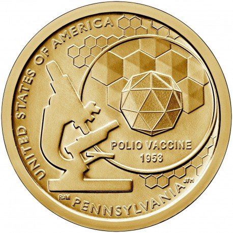 ESTADOS UNIDOS 1 DOLAR 2019 P AMERICAN INNOVATION 3ª moneda PENNSYLVANIA VACUNA DE LA POLIO LATON SC USA 1 Dollar coin