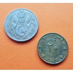 2 monedas x ARGELIA 20 CENTIMOS 1964 BANDERAS KM.98 NICKEL + 1 DINAR 1964 BANDERAS KM.100 NICKEL MBC