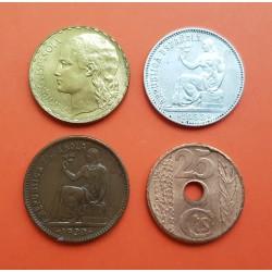 4 monedas 25 CENTIMOS 1938 + 50 CENTIMOS 1937 + 1 PESETA 1933 PLATA + 1 PESETA 1937 LATON REPUBLICA ESPAÑOLA España
