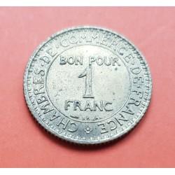 FRANCIA 1 FRANCO 1921 DAMA CHAMBRE DE COMMERCE KM.876 MONEDA DE LATON EBC/SC France 1 Franc