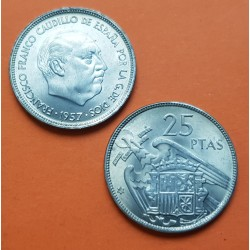ESPAÑA 25 PESETAS 1957 * 65 FRANCO SIN CIRCULAR NICKEL NO PLUS