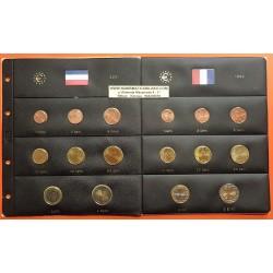 2 series x HOLANDA MONEDAS EURO 2001 + FRANCIA MONEDAS EURO 1999 SC 1+2+5+10+20+50 Cts. + 1+2 EUROS + HOJAS PARDO
