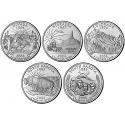 USA 1/4 DOLAR 2006 SET 5 monedas US QUARTER DOLLAR