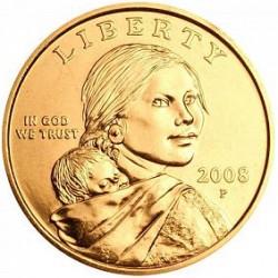 ESTADOS UNIDOS 1 DOLAR 2008 P INDIA SACAGAWEA MONEDA DE LATON SC USA $1 Dollar coin
