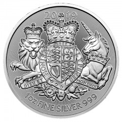 @1 ONZA 2019@ INGLATERRA 2 LIBRAS 2019 ESCUDO DE ARMAS MONEDA DE PLATA SC 2 Pounds Silver OZ OUNCE Troy COAT OF ARMS