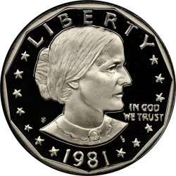 ESTADOS UNIDOS 1 DOLAR 1981 S SUSAN B. ANTHONY @TYPE II CLEAR S - RARA@ KM.207 MONEDA DE NICKEL PROOF USA 1 Dollar