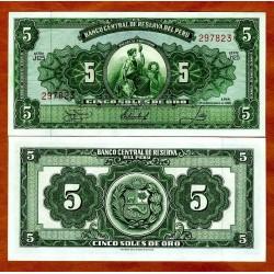 PERU 5 SOLES 1966 DAMA y ESCUDO Pick 83 BILLETE SC 5 Soles de Oro 1966 UNC BANKNOTE